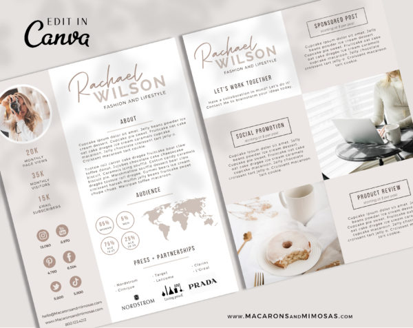 Canva Media Kit Template, Influencer Media Kit, Press Kit, Pitch Kit, Blogger Template, Instagram Brand Ambassador Media Kit Template