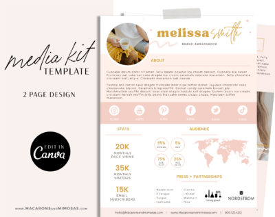 Canva Media Kit Template, Influencer Media Kit, Press Kit, Pitch Kit, Blogger Template, Instagram Brand Ambassador Media Kit Template