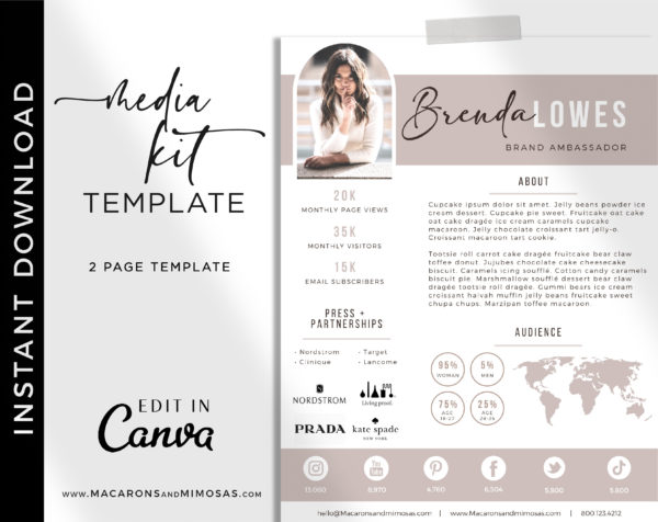 2 Page Influencer Media Kit Template for Canva, Media Kit for Social Media Influencer, Instagram Influencer Press Kit Pitch Kit