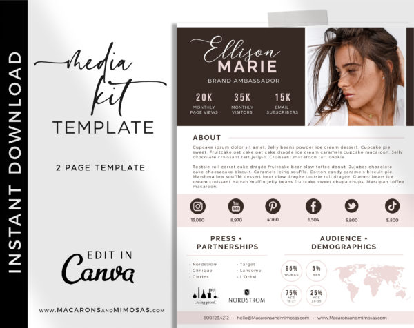 Influencer Media Kit Template for Canva, 2 Page Media Kit for Social Media Influencer, Instagram Influencer Press Kit Pitch Kit