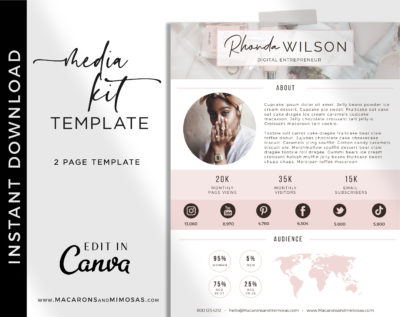 Pretty media kit examples, Influencer Media Kit, Press Kit, Pitch Kit, Blogger Template, Instagram Brand Ambassador Media Kit Template
