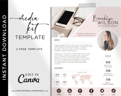 Pretty media kit template, Influencer Media Kit, Press Kit, Pitch Kit, Blogger Template, Instagram Brand Ambassador Media Kit Template