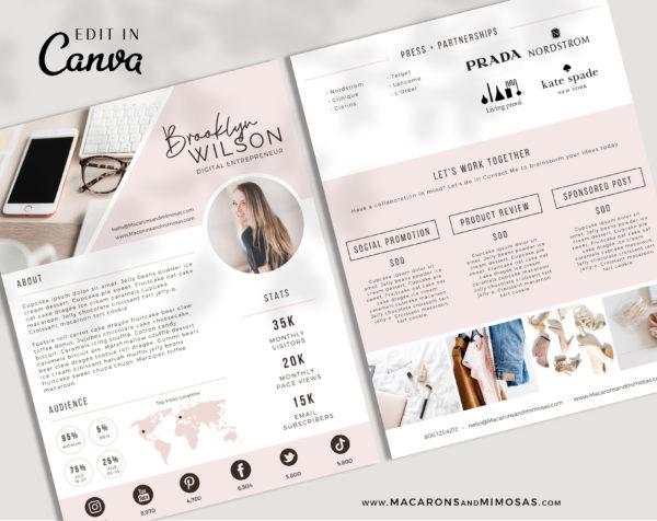 Pretty media kit template, Influencer Media Kit, Press Kit, Pitch Kit, Blogger Template, Instagram Brand Ambassador Media Kit Template