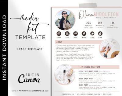 Media Kit Canva Template, Influencer Media Kit, Press Kit, Pitch Kit, Blogger Template, Instagram Brand Ambassador Media Kit Template