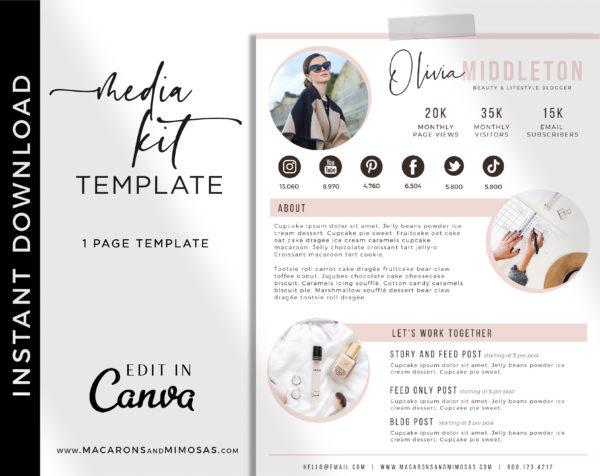 Media Kit Canva Template, Influencer Media Kit, Press Kit, Pitch Kit, Blogger Template, Instagram Brand Ambassador Media Kit Template