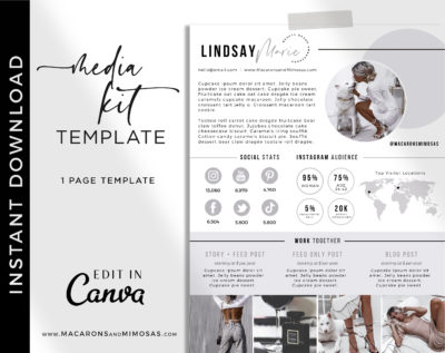 1 page media kit Canva Template, Influencer Media Kit, Press Kit, Pitch Kit, Blogger Template, Instagram Brand Ambassador Media Kit Template