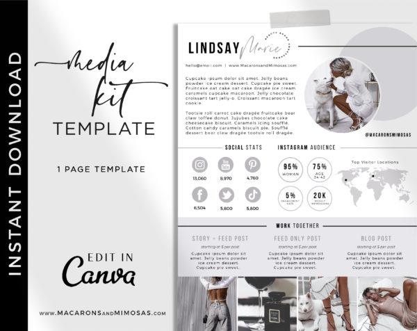 1 page media kit Canva Template, Influencer Media Kit, Press Kit, Pitch Kit, Blogger Template, Instagram Brand Ambassador Media Kit Template