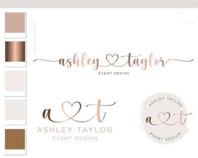 Makeup Logo Design, Heart Watercolor Logo Design, Beauty Bar Branding Kit, Business Logo Design Package, Premade wedding Event Planner logo