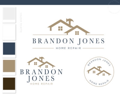 Home Repair logo, Handyman Logo, Carpentry Logo Design, Woodworking Services Logo, Masculine Branding Kit, Hammer Flooring and Roofing Logo