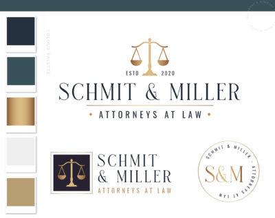Scales of Justice Logo for Lawyer, Law Firm Logo Design, Legal Office Logo Images and Emblem, Judge Logo and Attorney Practice Logo