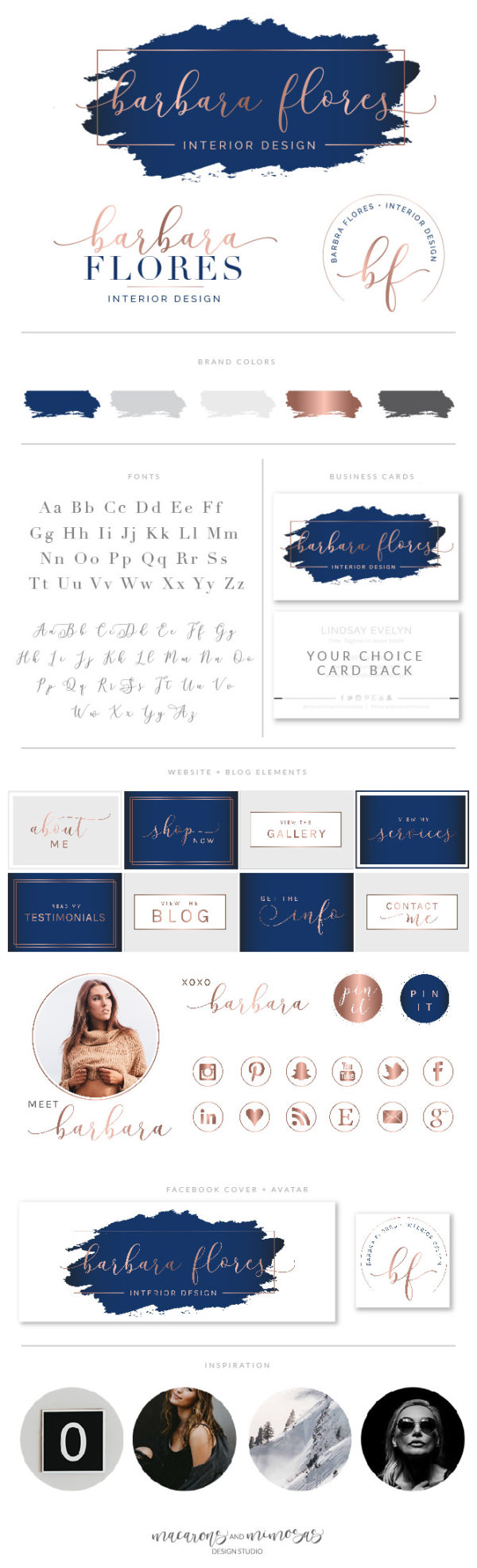 Rose Gold and Navy Blue Logo Design, Beauty Lash Logo for Salon and Makeup Artist, Brow bar Glitter Branding Kit Package with Logo Watermark