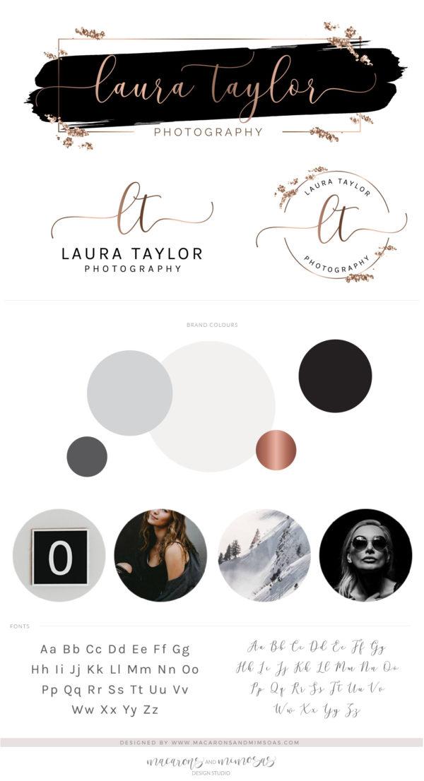 Black Rose Gold Logo Design, Beauty Lash Logo for Salon and Makeup Artist, Brow bar Glitter Branding Kit Package with Logo Watermark