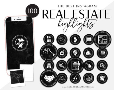 Marble Realtor Instagram highlights, 100 Real Estate Instagram Story covers, IG Icons, Story Highlight Icons, IG Stories Post cover