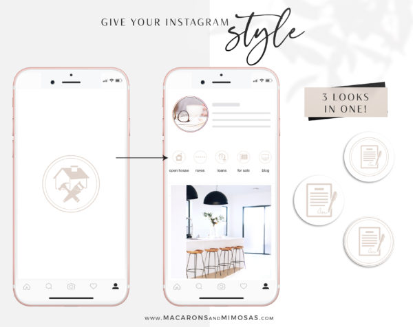 Pink Real Estate Instagram Highlights, Blush Pink and White Icons for Home Sales Agents, Interior Designs, Architechs, Realtors