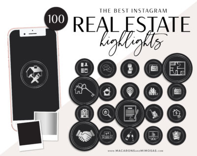 100 Silver Realty Instagram Covers, Real Estate Instagram Story Highlights, Black Silver IG Icons, Story Highlight Icons, social media icons