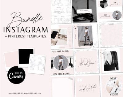 Marble Templates for Canva, Pink Marble Instagram engagement story posts for Canva, How to boost your engagement on instagram
