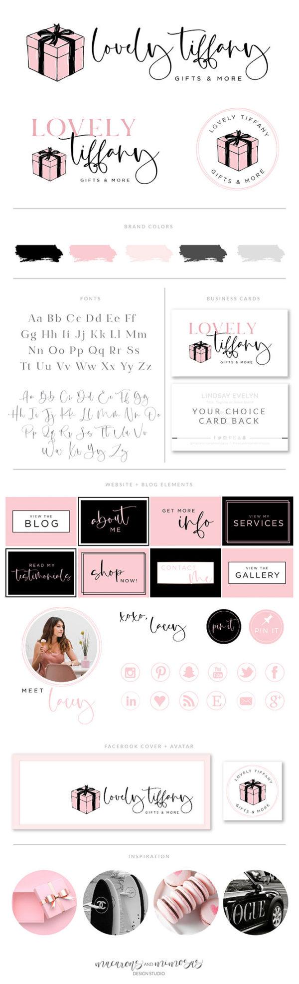 Gift Box Logo Design, Gift Shop Logo for Boutique, Event Company Logo, Premade Cute Bow Logo, Gift Wrapping Company, Pink Ribbon Logo