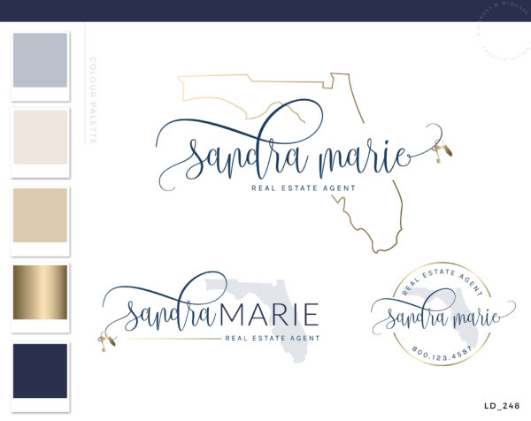 Florida Real Estate Logo, Realty Agent Logo, Gold Logo design, Premade Watermark Logo, Broker Business cards, Florida Realtor Marketing