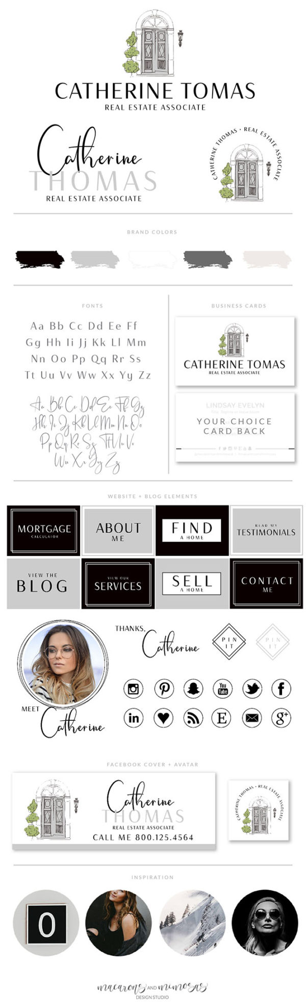 Real Estate Door Logo Template, Real Estate Logo, Realtor Logo, House logo watermark, Realtor Marketing Package for Brokers and Associates