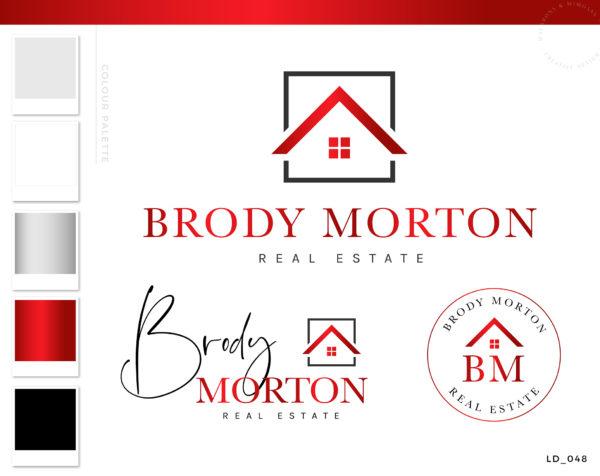 Red Real Estate Logo, Real Estate Premade logo, House Logo, Realty Logo Design, Red Real Estate Logo, Real Estate Agent Logo, For Sale Signage Property