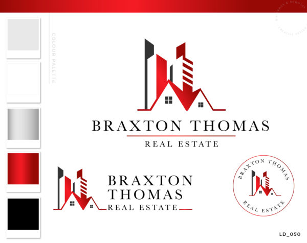 commercial real estate logo, Realtor Logo, House logo watermark, Realtor Marketing real estate agent branding Kit, Broker Logo Metallic Red