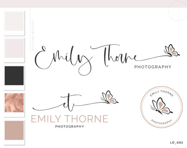 Butterfly Logo Design, Girls Boutique Logo and Branding Package, Photography Logo for Photo Watermark, Elegant Watercolor Monarch Boho Logo