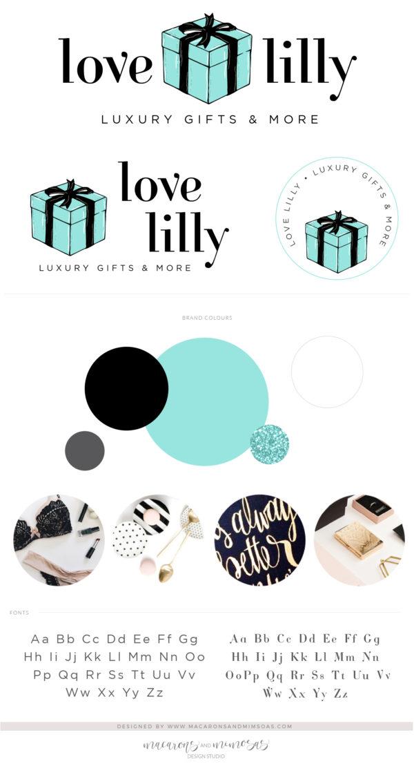 Blue Gift Box Logo Design, Gift Shop Logo for Boutique, Event Company Logo, Premade Cute Bow Logo, Gift Wrapping Company, Pink Ribbon Logo