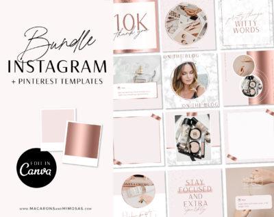 Rose Gold Instagram Templates for Canva, Pink Instagram Templates for Stories and Posts, Canva Beauty Templates for Instgram Reels