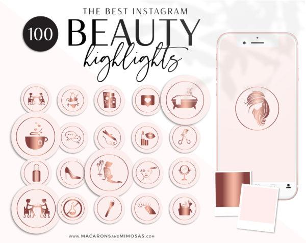 Rose Gold Beauty Highlights for Instagram perfect for makeup artist, lash artist, brow artist, hairdresser, beauty therapist, beauty blogger
