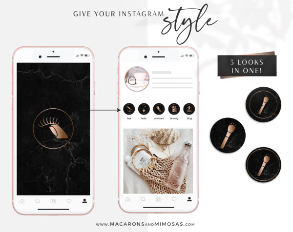 Black Marble Beauty Highlights for Instagram perfect for makeup artist, lash artist, brow artist, hairdresser, beauty therapist, beauty blogger