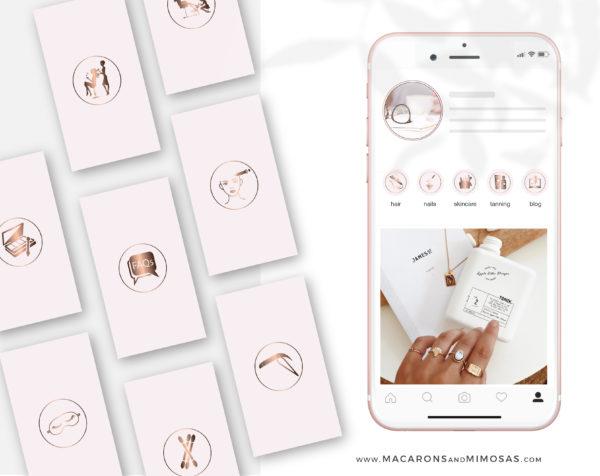 Pink Beauty Instagram Highlights are perfect for makeup artist, lash artist, brow artist, hairdresser, beauty therapist, beauty blogger