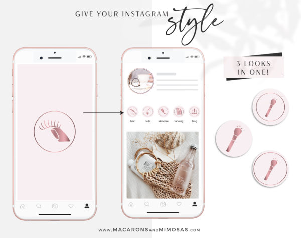 Blush Pink Beauty Instagram Highlights are perfect for makeup artist, lash artist, brow artist, hairdresser, beauty therapist, beauty blogger