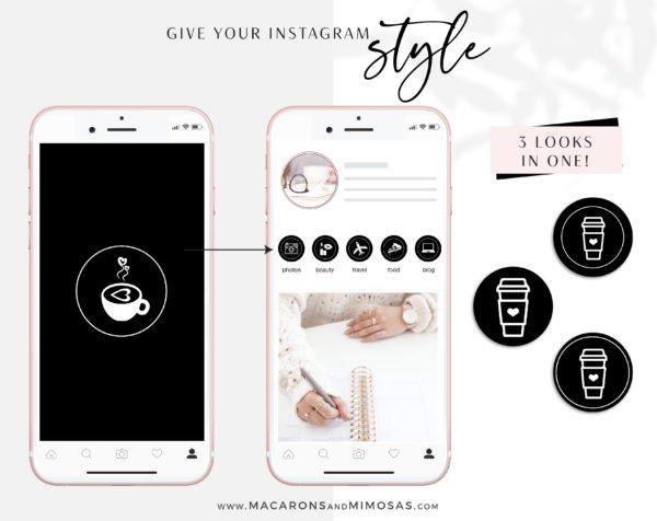 Black White Instagram Highlights, 200 Instagram Story Hightligh IconCovers, Black Icons for Fashion, Beauty and Lifestyle Highlights