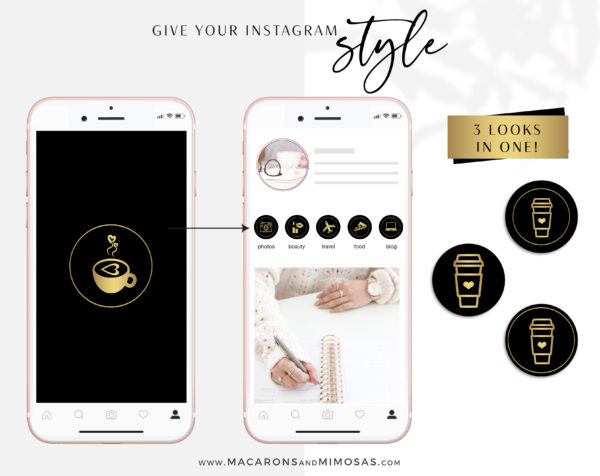 Black Gold Instagram Highlights, 200 Instagram Story Hightligh IconCovers, Black Icons for Fashion, Beauty and Lifestyle Highlights