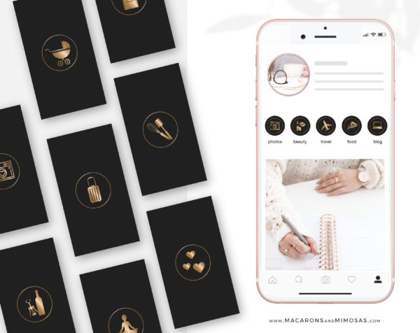 Black Copper Instagram Highlights, 200 Instagram Story Hightligh IconCovers, Black Icons for Fashion, Beauty and Lifestyle Highlights