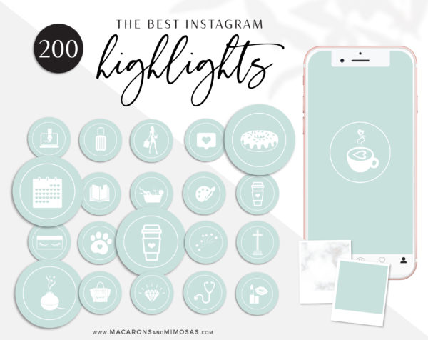 Mint Green Instagram Highlights, 200 Instagram Story Hightligh IconCovers, Black Icons for Fashion, Beauty and Lifestyle Highlights