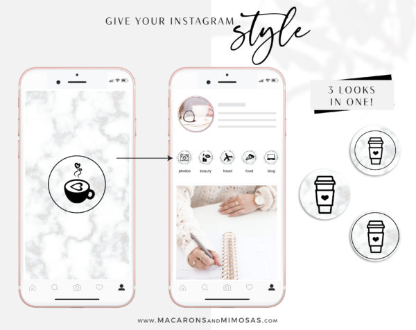 Marble Instagram Highlights, 200 Instagram Story Hightligh IconCovers, Black Marble Icons for Fashion, Beauty and Lifestyle Highlights