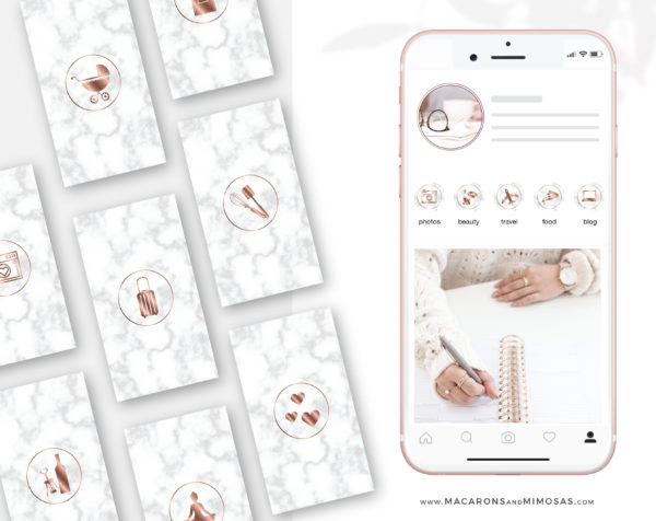 Rose Gold Marble Highlights for Instagram, 200 Instagram Story Hightligh IconCovers, Rose Gold Marble Icons for Fashion and Beauty Bloggers