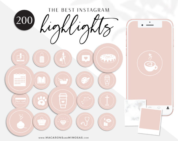 Blush Pink Instagram Highlights to style your Instagram Stories covers, 200 Instagram Story Highlight Covers, Icons for Fashion and Beauty