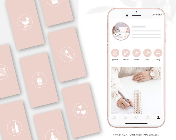 Blush Pink Instagram Highlights to style your Instagram Stories covers, 200 Story Highlight Covers, Icons for Fashion and Beauty