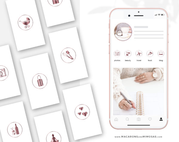 Rose Gold Highlight Covers to style your Instagram Stories covers, 200 Story Highlight Covers, Icons for Fashion and Beauty