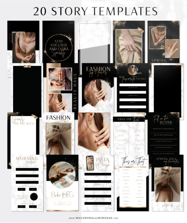 Gold Instagram Templates for Canva, Gold Marble Instagram Templates for Stories and Posts, Canva Beauty Templates for Instagram Reels