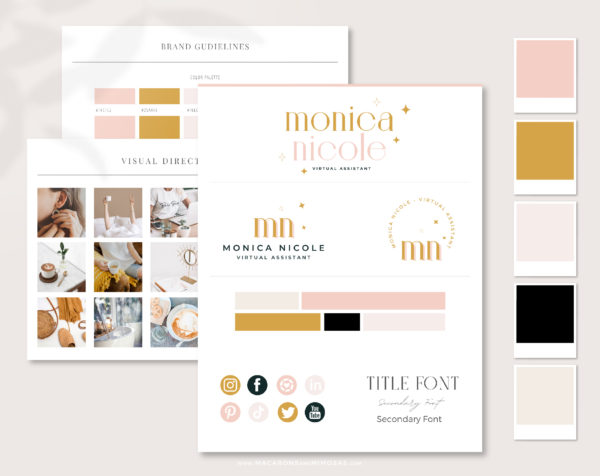 Boho Semi-Custom Brand Design includes one Main Logo, a Secondary Logo, Typography suggestions Curated Stock Photos, and more!