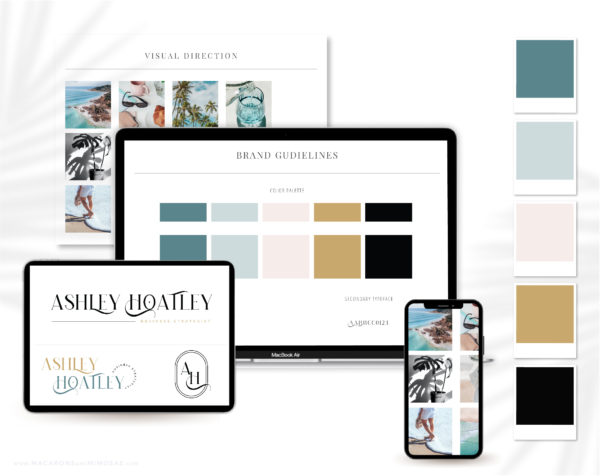 Semi-Custom Brand Design Kit includes one Main Logo, a Secondary Logo, Typography suggestions Curated Stock Photos, and more!