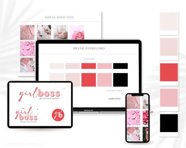 Lady Boss Semi-Custom Brand Design for FemaleEntrepreneurs. Premadelogodesigns include Pink Canva Logo templates!