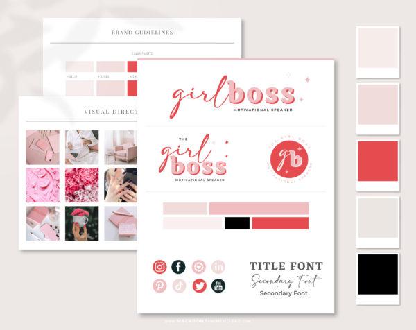Pink Girl Boss Semi-Custom Brand Design for FemaleEntrepreneurs. Premadelady bossdesigns include Canva Logo templates!