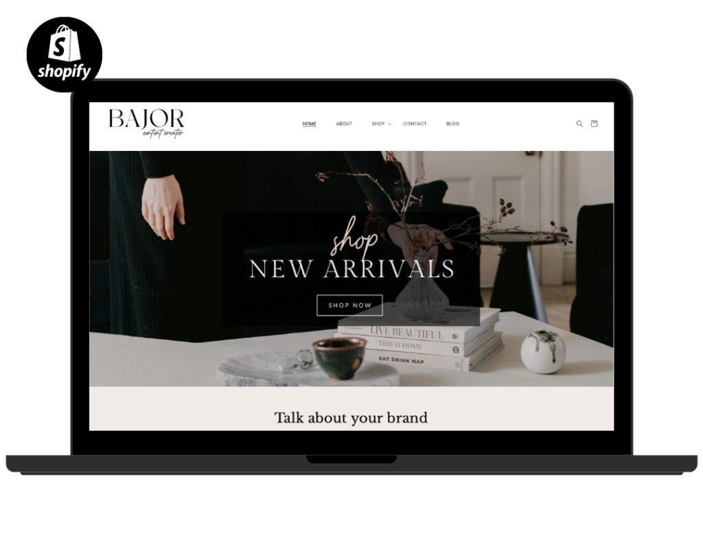 Minimal Shopify Theme Template, Neutral Shopify Theme, Website Design Shopify 0S 2.0 Drag and Drop with Canva Banners