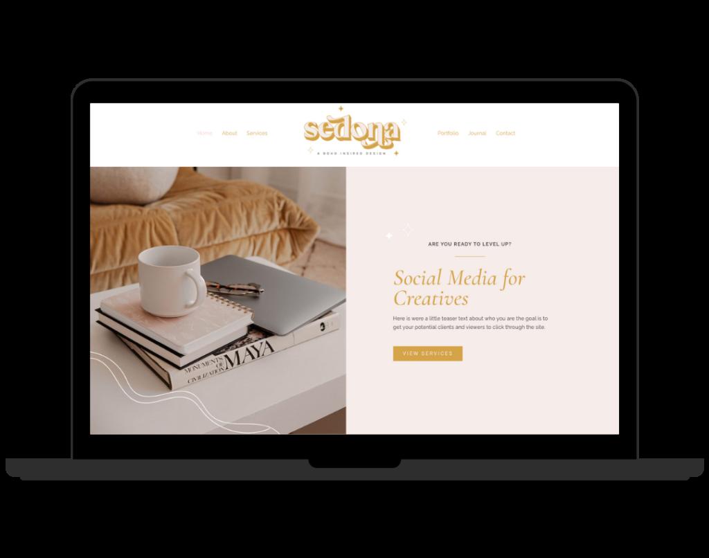 Boho Website Design for photographers, Ecommerce Social Media Coach Website - Creative WordPress Layout, Wix Web Design